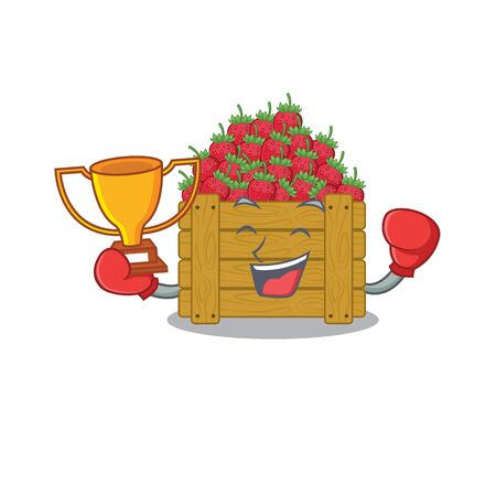 Happy face of boxing winner strawberry fruit box in mascot design style