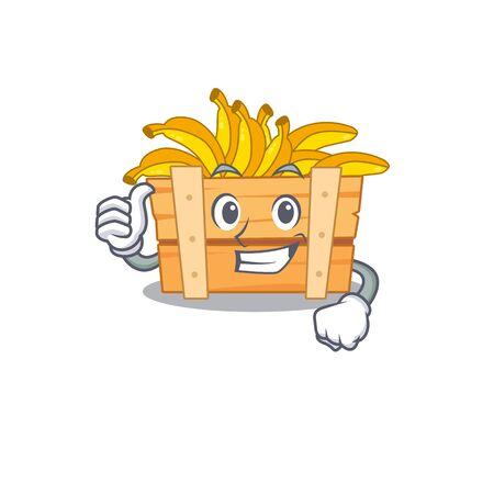 Cool banana fruit boxcartoon design style making Thumbs up gesture Stock Illustratie