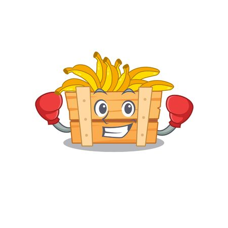 A sporty banana fruit box boxing mascot design style 向量圖像