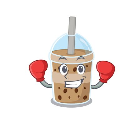 A sporty chocolate bubble tea boxing mascot design style. Vector illustration