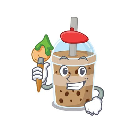 Talented chocolate bubble tea Artist cartoon character with brush