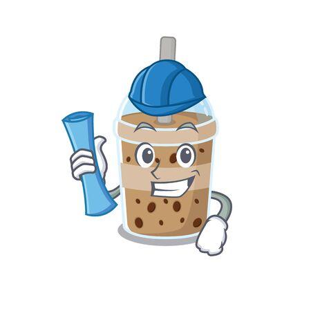 Smiling Architect of chocolate bubble tea having blue prints and blue helmet. Vector illustration