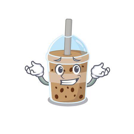 Happy face of chocolate bubble tea mascot cartoon style. Vector illustration