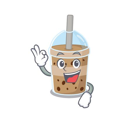 Chocolate bubble tea cartoon character design style making an Okay gesture. Vector illustration