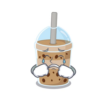 A Crying chocolate bubble tea cartoon mascot design style. Vector illustration Illustration