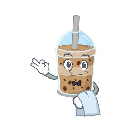 A design of chocolate bubble tea cartoon character working as waiter Illustration