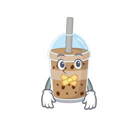 chocolate bubble tea mascot cartoon character design with silent gesture 일러스트