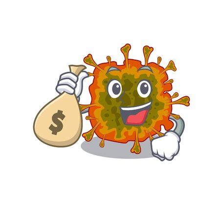 Smiley rich duvinacovirus cartoon character bring money bags 向量圖像