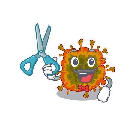 Cool Barber duvinacovirus mascot in design style