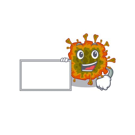 Duvinacovirus with board cartoon mascot design style
