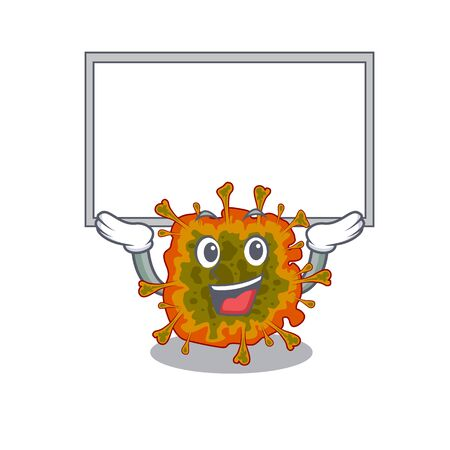 Happy cartoon character of duvinacovirus raised up board