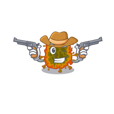 Funny duvinacovirus as a cowboy cartoon character holding guns