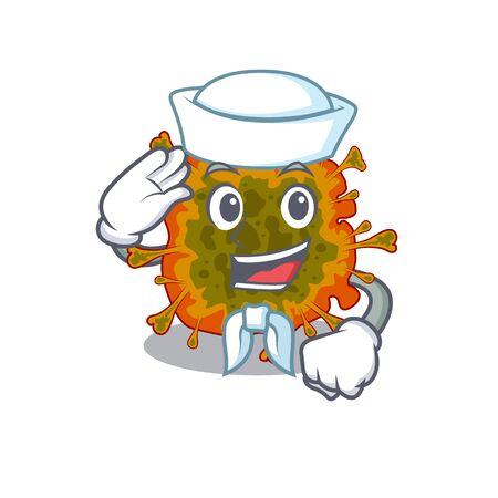 Cute duvinacovirus Sailor cartoon character wearing white hat 向量圖像