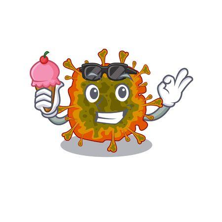 cartoon character of duvinacovirus holding an ice cream 向量圖像