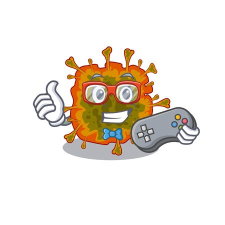 Cool gamer of duvinacovirus mascot design style with controller