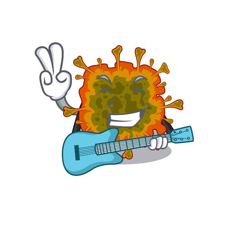Supper cool duvinacovirus cartoon playing a guitar