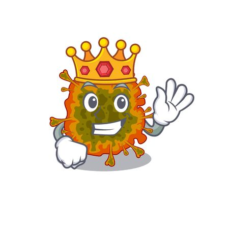The Royal King of duvinacovirus cartoon character design with crown