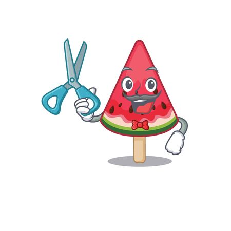 Cool Barber watermelon ice cream mascot design style. Vector illustration Ilustração