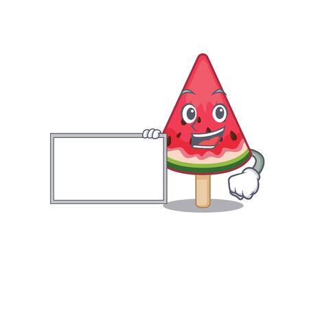 Watermelon ice cream with board cartoon mascot design style. Vector illustration