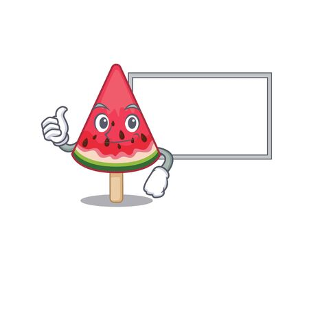 cute watermelon ice cream cartoon character Thumbs up bring a white board