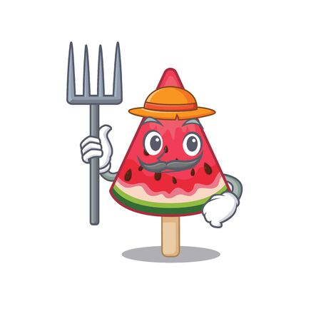 watermelon ice cream in Farmer cartoon character with hat and pitchfork. Vector illustration