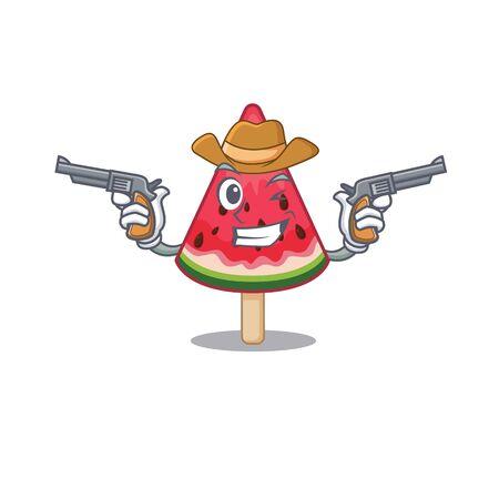 Funny watermelon ice creamas a cowboy cartoon character holding guns. Vector illustration