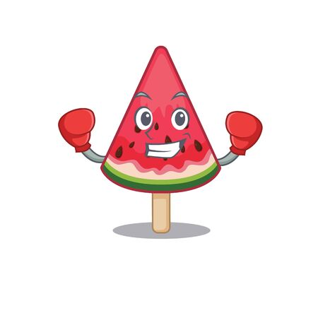 A sporty watermelon ice cream boxing mascot design style. Vector illustration 向量圖像