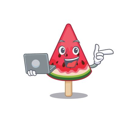 An icon of smart watermelon ice cream working with laptop. Vector illustration