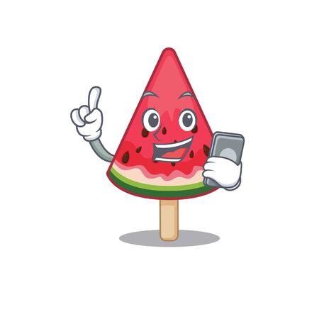 Mascot design of watermelon ice cream speaking on phone. Vector illustration