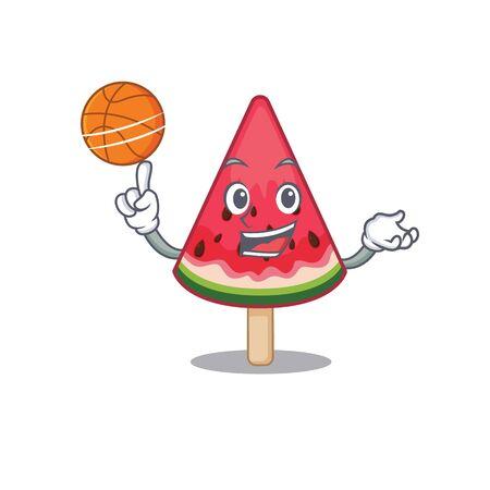 A sporty watermelon ice cream cartoon mascot design playing basketball. Vector illustration