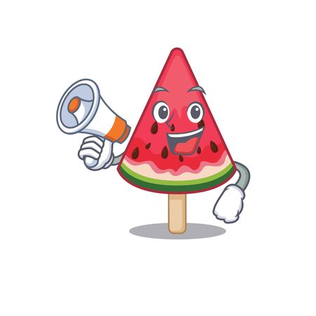 An icon of watermelon ice creamholding a megaphone