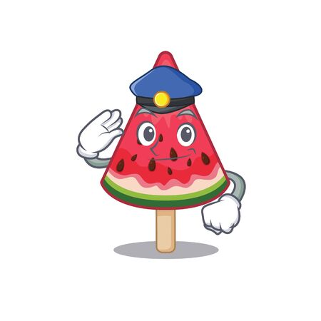 A picture of watermelon ice creamperformed as a Police officer. Vector illustration Imagens - 143091321
