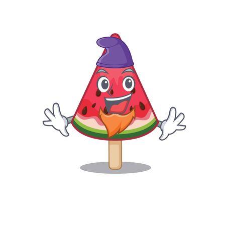 Cute and funny watermelon ice cream cartoon character dressed as an Elf. Vector illustration Ilustração