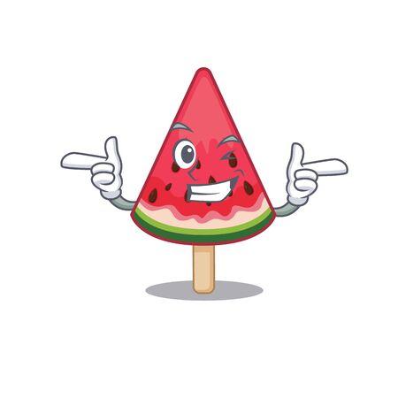 Smiley watermelon ice cream cartoon design style showing wink eye. Vector illustration