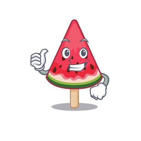 Cool watermelon ice cream cartoon design style making Thumbs up gesture. Vector illustration