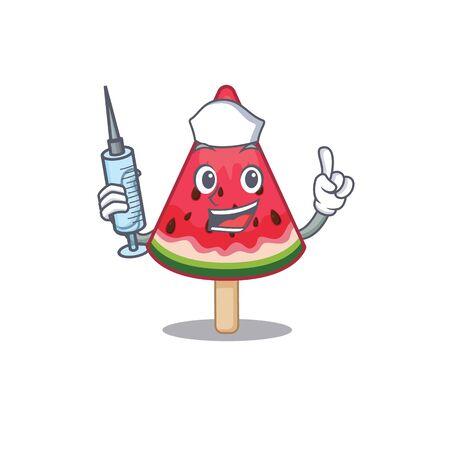 Friendly nurse of watermelon ice cream mascot design holding syringe. Vector illustration Illustration