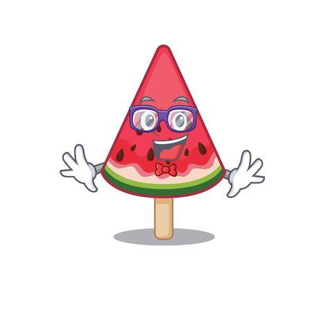 Super Funny Geek watermelon ice cream cartoon character design. Vector illustration Ilustração
