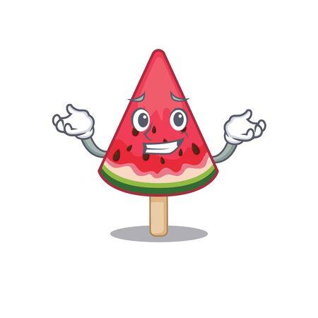 Happy face of watermelon ice cream mascot cartoon style. Vector illustration Ilustração