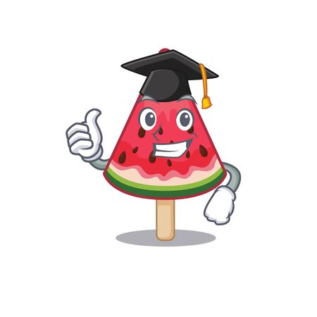 A picture of watermelon ice cream with black hat for graduation ceremony. Vector illustration