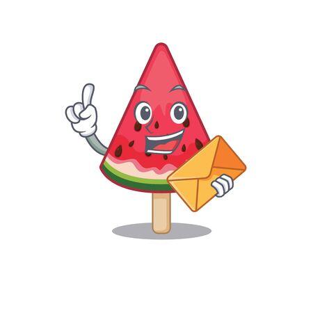Cute face watermelon ice cream mascot design with envelope. Vector illustration Imagens - 143092667