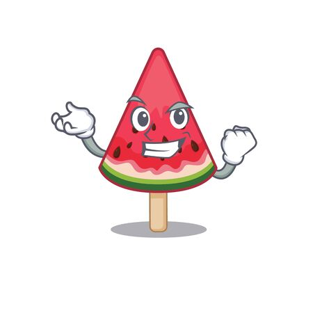 watermelon ice cream cartoon character style with happy face