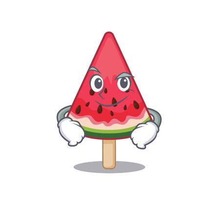Funny watermelon ice cream mascot character showing confident gesture. Vector illustration Ilustração