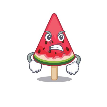 watermelon ice cream cartoon character design with angry face
