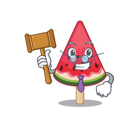 Charismatic Judge watermelon ice creamcartoon character design wearing cute glasses