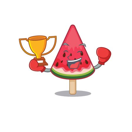 Happy face of boxing winner watermelon ice cream in mascot design style. Vector illustration