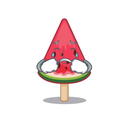 A Crying watermelon ice cream cartoon mascot design style