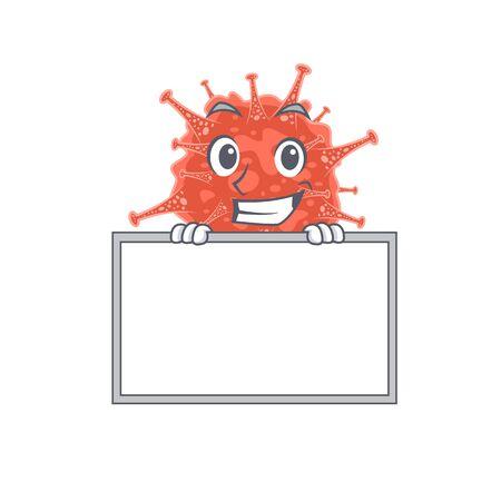 Smiley orthocoronavirinae cartoon character style bring board Ilustracja