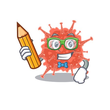 A smart student orthocoronavirinae character with a pencil and glasses