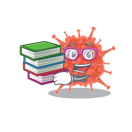 A diligent student in orthocoronavirinae mascot design with book Illustration