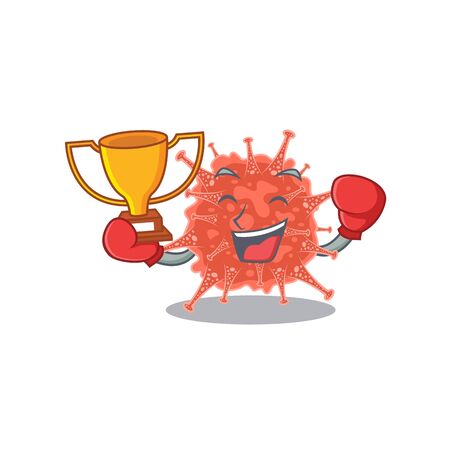 Happy face of boxing winner orthocoronavirinae in mascot design style. Vector illustration